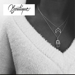 Jewelry - Hamsa Moon Palm Necklace